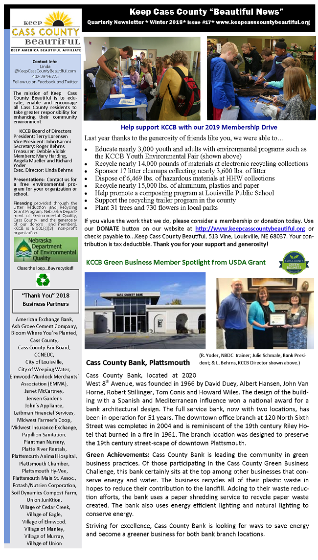 2018 Winter Newsletter Page 1