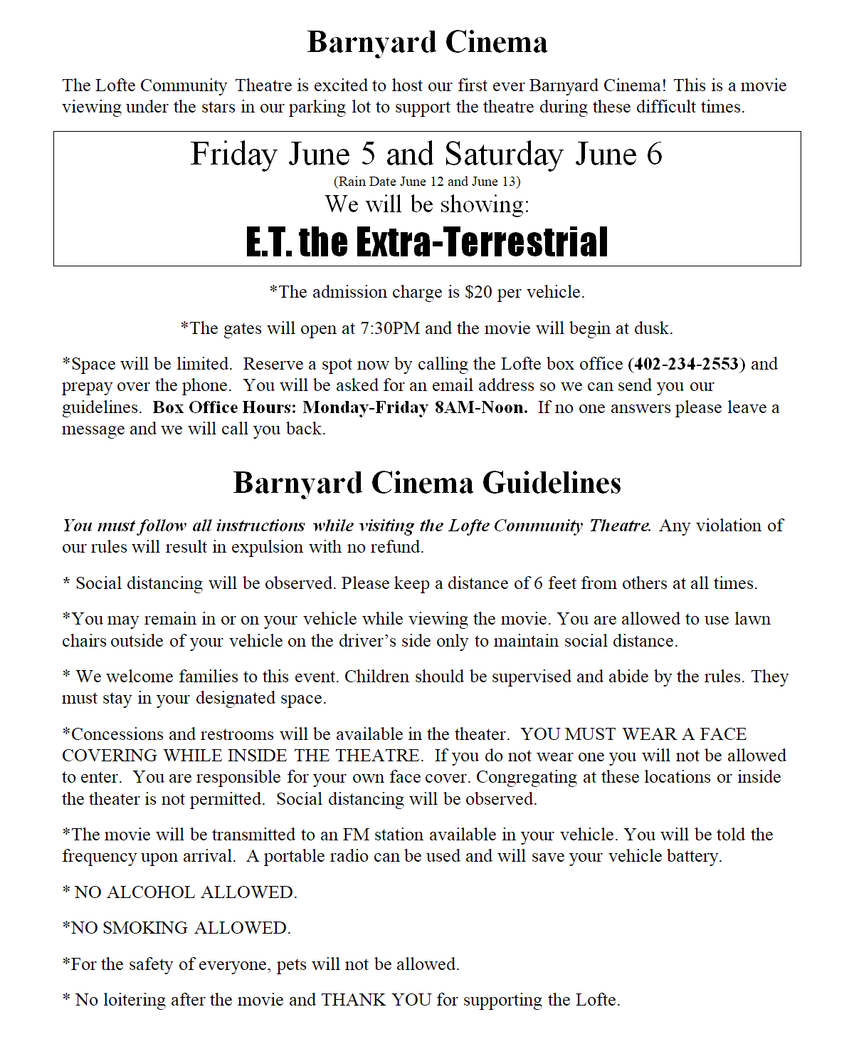 Barnyard Cinema Guidelines