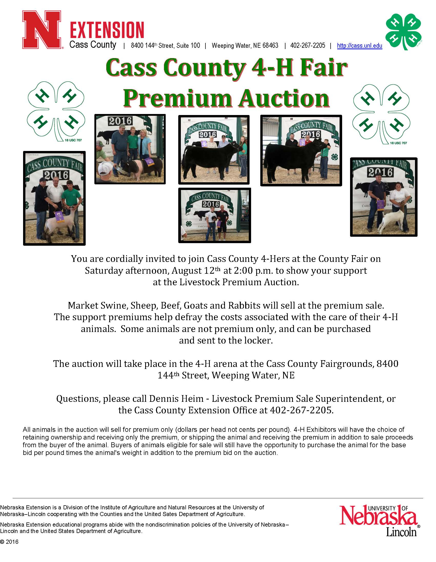 Livestock Auction flyer for 2017