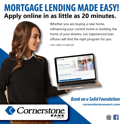 Cornerstone Bank Mortgage Lending 2019 400